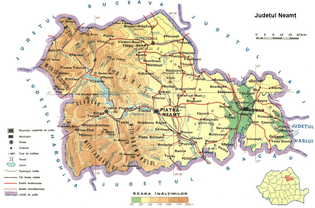Jud Neamt Harta Fizica Geografie Neamț
